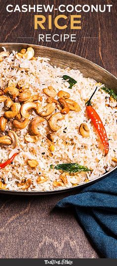 Spice up basmati rice with curry leaves, chiles and tons of coconut for a rich side dish. Spice up basmati rice with curry leaves, chiles and tons of coconut for a rich side dish. Indian Food Recipes, Asian Recipes, Vegetarian Recipes, Cooking Recipes, Healthy Recipes, Ethnic Recipes, Cashew Recipes, Oriental Recipes, Coconut Rice