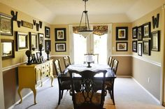 I like how this dining area has become a gallery using all group family photos that had ever been taken. Don't let them get dusty in albums! I love displaying them for your children to see over time. Old hair-dos definitely become amusing conversation pieces :)
