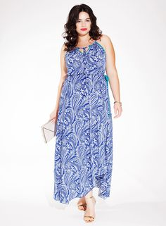 Kaia Halter Maxi Dress in Cobalt Cachemire