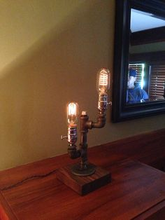 Radio Edison Dual Industrial Table Lamp With Rustic Oak Base