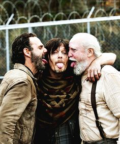 "Andrew Lincoln, Norman Reedus, & Scott Wilson on set of 4x16 ""A"""