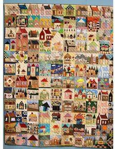 Amazing house quilt from the RandomThoughtsDoOrDi blog.