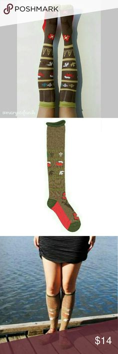 """🆕 NWT Peony & Moss """"Forest"""" Knee High Socks 🆕 NWT Peony & Moss """"Forest"""" Knee High Socks. Forest is a fun sock with trees, foxes, birds going up the leg and a deer on the top of the foot. Brown sock with red sole, dark green heel, toe, and cuff. Roll edge cuff.  One pair per pack. Women's one size fits all. Beautiful socks designed in Seattle. Made on specialty sock knitting machines. Imported. Seamless toe. 80% soft, absorbent cotton, 15% nylon for shape, 5% spandex for stretch.  Please…"""