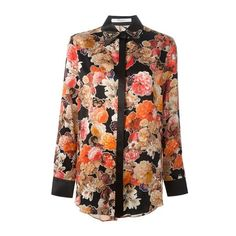 GIVENCHY Floral Print Blouse (33.410 RUB) ❤ liked on Polyvore featuring tops, blouses, shirts, blusas, orange, floral print shirt, butterfly collar shirt, floral long sleeve shirt, butterfly shirt and collared shirt