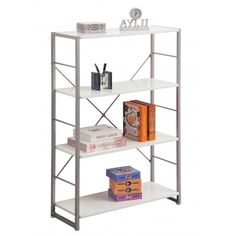White Modern Bookcase by Alphason - Modern Bookcase / Storage Shelf • White Shelves • Grey Frame • Matches Cabrini Desk Dimensions H 119cm x W 80cm x D 30cm