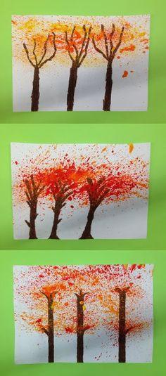 ARBRE - Material: paper, pintura, raspall de dents - Tècnica: espargit - Nivell: 3er Primària 2014-15 Escola Pia Balmes