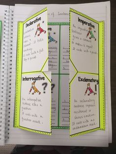 If you are looking to target differentiation in your classroom and provide your students with activities suitable to their needs, then this resource will prove handy. The 5 different interactive notebook foldables and 20 task cards and QR Code Cards focus on teaching the four types of sentences: DECLARATIVE, IMPERATIVE, INTERROGATIVE, and EXCLAMATORY. https://www.teacherspayteachers.com/Product/TYPES-OF-SENTENCES-NOTEBOOK-FOLDABLES-TASK-CARDS-QR-CODE-CARDS-COMMON-CORE-1650971