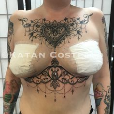 Chest piece and underboob tattoo by Katan Costello two hearts tattoo cardiff Wales UK for bookings email- twoheartstattoo@yahoo.com  #tattoo #hearttattoo #chestpiece #underboobtattoo #ink #sexytattoo