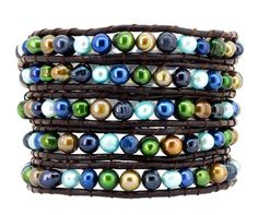 5 Row Multi Color Freshwater Cultured Pearl Beaded Wrap Around Bracelet -- You can get more details by clicking on the image.