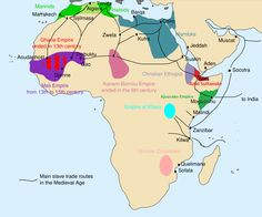 African slave trade - 13th-century Africa – Map of the main trade routes and states, kingdoms and empires