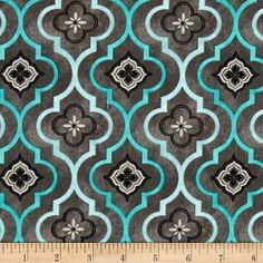 Isabella Fleur Geometric Dark Gray from @fabricdotcom  Designed by Cynthia Coulter for Wilmington Prints, this reproduction cotton print fabric is perfect for quilting, apparel and home decor accents. Colors include shades of grey and shades of teal with black accents.