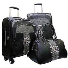 3-piece Luggage Set w/Rhinestone fleur de lis