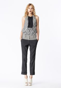 LOOK 1 Charcoal and white silk stripe color-blocked top with gathered neckline.  Charcoal pinstripe wool trouser with seersucker yoke.