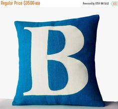 10% OFF Blue Pillows Personalized Monogram throw by AmoreBeaute