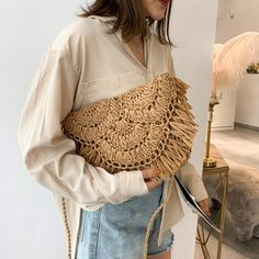 Jin Mantang 2020 New Handbag Beach Bag Woven Rattan Bag Straw Woven Leisure Wild Holiday Simple Woven Messenger Bag Travel Bag Straw Handbags, New Handbags, Fabre, Leather Pattern, Summer Bags, Casual Bags, Look Cool, Straw Bag, Hand Weaving