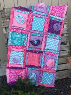 Rag Quilt Hot pink Turquoise Purple Crib Blanket for Baby Girl Made to Order