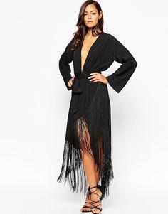ASOS Fringe Deep Plunge Maxi Dress