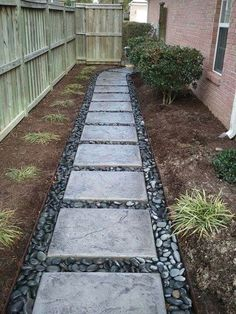 Affordable front yard walkway landscaping ideas - All For Garden River Rock Landscaping, Small Yard Landscaping, Landscaping With Rocks, Landscaping Ideas, Walkway Ideas, Path Ideas, Mulch Landscaping, Walkway Designs, Mailbox Landscaping