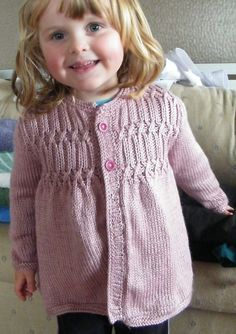 Free Knitting Pattern for Strawberry Hill Cardigan - Cardigan sweater in toddler and child sizes features a smocked yoke. Toddlers 2 Designed by Melissa Matthay Pictured project by RAELNE Kids Knitting Patterns, Knitting For Kids, Free Knitting, Baby Cardigan Knitting Pattern, Knitted Baby Cardigan, Baby Sweaters, Girls Sweaters, Cardigan Sweaters, Toddler Cardigan