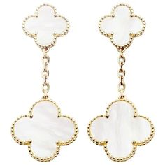 Pre-owned Magic Alhambra Earrings, 2 Motifs, Yellow Gold And White... ($7,270) ❤ liked on Polyvore featuring jewelry, earrings, accessories, white, white gold jewellery, van cleef arpels jewelry, gold jewelry, white jewelry and gold jewellery