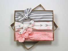 Arrow Chevron Organic Cotton Knotted Headband/ Baby Headband/ Toddler Headband/ Jersey Knit Pink Gray Headband/ Set of Three