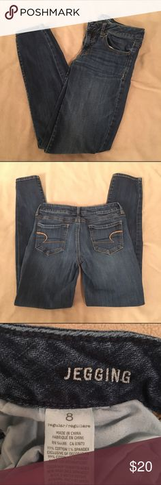 AE Skinny Jegging Jeans AE dark blue Skinny jegging jeans. Still have a lot of life left in them! American Eagle Outfitters Jeans Skinny