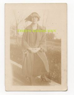 Antique Vintage Photograph~Young Woman~Dressed Up~Hat~Outside~Female~Garden