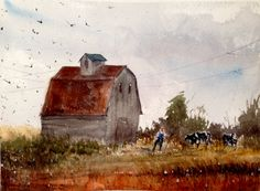 baha boru - the farm watercolor painting