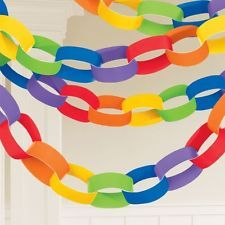 3.9 Metre Coloured Paper Chains Garland Party Decoration 10 Colours