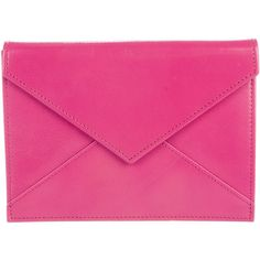 Pre-owned Smythson Envelope Clutch ($145) ❤ liked on Polyvore featuring bags, handbags, clutches, pink, pink leather handbags, envelope clutch, handbag purse, pink purse and leather hand bags