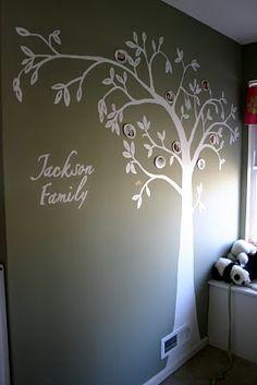 family trees, white walls, famili tree, nurseri, family tree wall, hous, stencil, bedroom, tree murals