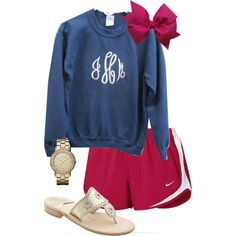 """Monogram Sweatshirt OOTD"" by classically-preppy (maybe just tennies instead) Preppy Outfits, Preppy Style, Summer Outfits, Cute Outfits, My Style, Preppy Casual, Casual Summer, Monogram Sweatshirt, Swagg"