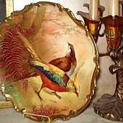 Limoges Coronet Pheasant Game Plate Signed Bronssillon
