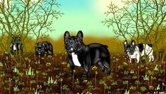 French Bulldog Pictures, Cute French Bulldog, Panther, Berries, Animals, Art, Art Background, Animales, Animaux