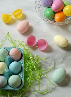 Easter egg bath bombs! easy to make using plastic Easter eggs as molds! So cute!