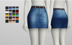 Rusty Nail: High-rise denim skirt with belt - 20 colors • Sims 4 Downloads