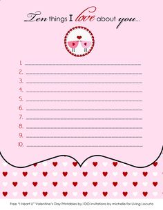 10 things I love about you free printable...this would be fun to hide in your husband's lunch box or his pocket for him to find on Valentine's Day!