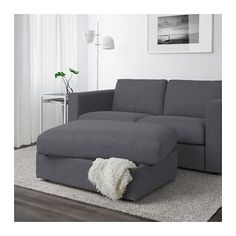 IKEA - VIMLE, Footstool with storage, Gunnared medium gray, Rest your feet on the ottoman or attach it to the end of your sofa for an additional seat. The ottoman has an extra storage space under the seat for all those little things you have in your home. At Home Furniture Store, Modern Home Furniture, Affordable Furniture, Living Room Furniture, Furniture Layout, Extra Storage Space, Storage Spaces, Ikea Vimle, Fabric Ottoman