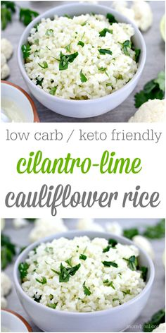 If you are living the low carb or Keto life right now, then this Low Carb Cilantro Lime Cauliflower Rice is about to be your new BFF! It's so easy to make and the perfect substitution for rice! Cauliflour Rice Recipes, Coliflower Rice Recipe, Keto Side Dishes, Vegetable Side Dishes, Vegetable Recipes, Healthy Rice Recipes, Low Carb Recipes, Vegetarian Recipes, Healthy Tacos