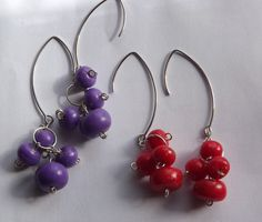 Items similar to Dangle Faux Stone Earrings from Polymer Clay Purple/Red Earrings Berry Earrings Natural jewelery on Etsy Faux Stone, Stone Earrings, Polymer Clay, Dangles, Trending Outfits, Unique Jewelry, Handmade Gifts, Etsy, Vintage