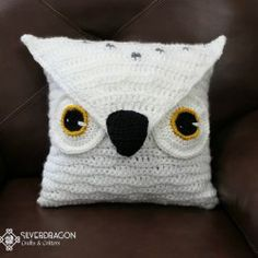 Custom Owl Pillow | Silverdragon Crafts & Critters | Mad Mad Makers | https://www.etsy.com/listing/183721371/custom-crocheted-15-x-15-owl-pillowbag?ref=shop_home_active_2
