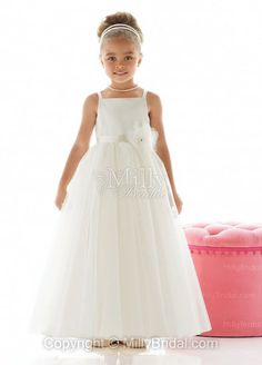 Spaghetti Straps A-line Ankle Length Flower White Tulle Flower Girl Dress at Millybridal.com
