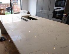 Lyskam White Apollo Quartz fitted by Solent Worktops Work Surface, White Quartz, Work Tops, Apollo, Kitchen, Furniture, Instagram, Home Decor, Cuisine