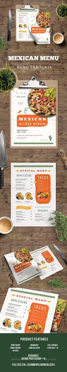 Mexican Food Menu — Photoshop PSD #restaurant #menu flyer • Available here → https://graphicriver.net/item/mexican-food-menu/19811600?ref=pxcr