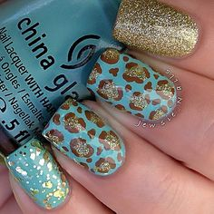 Blue and Gold Leopard nails <3