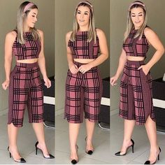 Super stripes Fashion Trends style is a very famous style in the world. Plaid Outfits, Crop Top Outfits, Classy Outfits, Chic Outfits, Fashion Outfits, Fashion Trends, Blazer And Shorts, African Fashion Dresses, Teen Fashion
