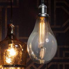 Hamton Pendant Light In Grey Glass With Filament Bulb Ceiling Chandelier, Black Chandelier, Ceiling Pendant, Glass Pendant Light, Glass Pendants, Living Room Furniture Uk, Living Rooms, Lighting Uk, Modern Furniture Online
