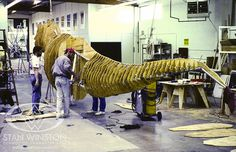 Behind the scenes of JURASSIC PARK. Richard Davison and Alan Scott at Stan WInston Studio fasten the plywood T-rex segments to the aluminum frame, similar to a ship's bulkheads.