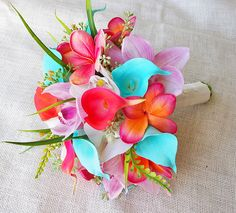 De Novia de orquídeas de tacto Natural Teal naranja por Wedideas