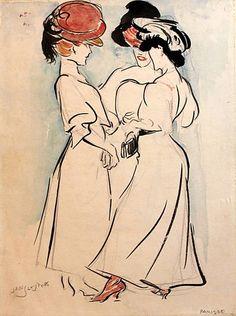 'PARISIENNES' - Oost-Indische inkt en aquarel 1906 Jan Sluijters